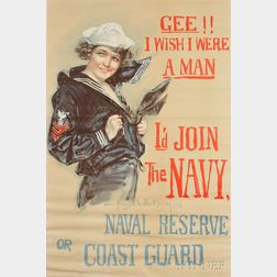 World War I Recruiting Poster: Gee!! I Wish I Were a Man, I'd Join the Navy