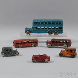 Six Painted Cast Iron Toy Vehicles