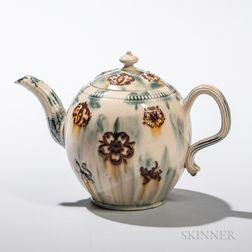 Staffordshire Translucent-glazed Cream-colored Earthenware Teapot and Cover