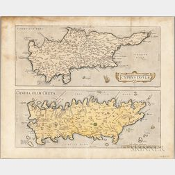 Cyprus and Crete. Abraham Ortelius (1527-1598) Cyprus Insula. Candia, Olim Creta, Theatrum Orbis Terrarum.