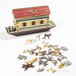 Polychrome Painted Noah's Ark with Animals