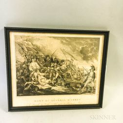 Framed Pietro Zancon Engraving Mort Du General Warren