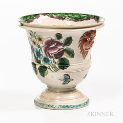 Staffordshire Enamel-decorated Salt-glazed Stoneware Flower Urn