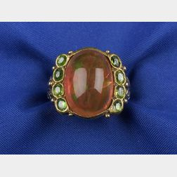 Arts & Crafts Mexican Fire Opal and Peridot Ring
