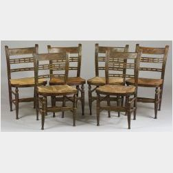 Set of Six Paint Decorated Fancy Chairs