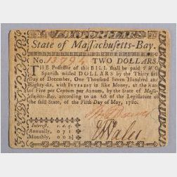 Massachusetts Two Dollar Colonial Note, 1780.