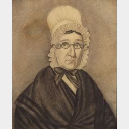Attributed to Milton Hopkins, (New York & Ohio, 1789-1844 )    Portrait of a Woman Wearing a Bonnet and Spectacles.