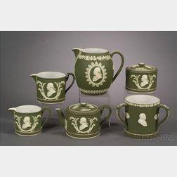 Six Wedgwood Olive Green Jasper Dip Commemorative Items