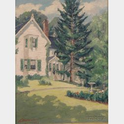 Framed Oil on Canvasboard Landscape with a White House by LaMont      Adelbert Warner (American, 1876-1970)