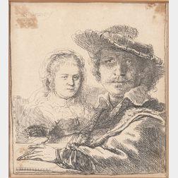 Rembrandt van Rijn (Dutch, 1606-1669)      Self-Portrait with Saskia, 1636,