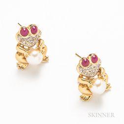 14kt Gold Frog Earrings