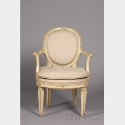 Italian Neoclassical Style Green Painted Open Armchair