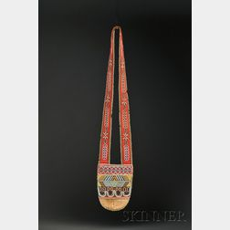 Northwest Beaded Cloth and Hide Bandolier Bag