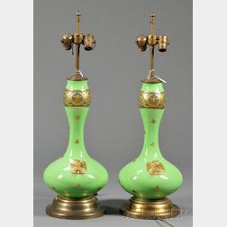 Pair of French Empire Opaline Glass Vases