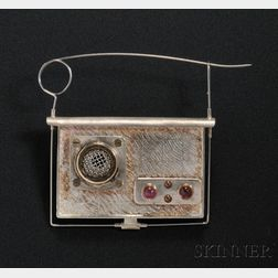 Chris Darway Sculptural Radio Brooch