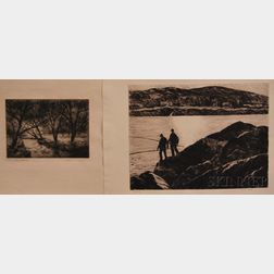 Two Unframed Etchings:      Gifford Beal (American, 1879-1956), Fisherman on the Rocks