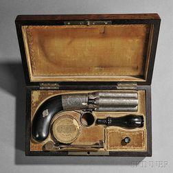 Cased Belgian Pepperbox Pistol