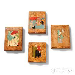 Four Art Deco Burlwood Souvenir Boxes