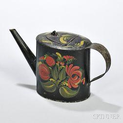 Paint decorated Tin Teapot