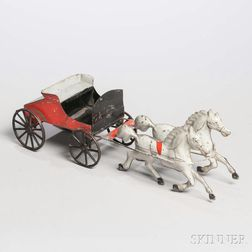 Painted Tin Toy Wagon and Horses