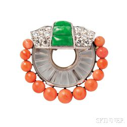 Art Deco Platinum, Rock Crystal, Coral, and Jade Brooch, Van Cleef & Arpels