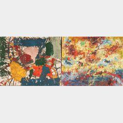 Taro Yamamoto (American/Japanese, 1919-1994)      Two Abstract Paintings