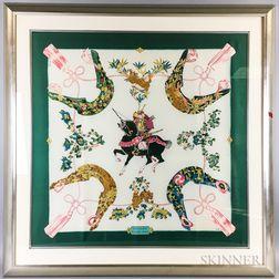 "Framed Hermes ""Samourai"" Silk Scarf"