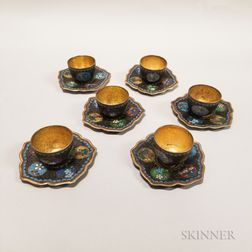Set of Six Cloisonne Cups and Saucers
