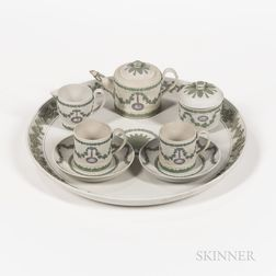 Assembled Six-piece Wedgwood Tricolor Jasper Tea Service with Tray