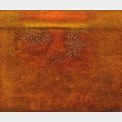 William Anzalone (American, b. 1935)      Untitled Landscape in Hues of Orange and Yellow