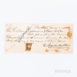Vanderbilt, Cornelius (1794-1877) Signed Note, New York, New York, 1 May 1868.