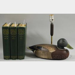 Birds of Massachusetts and Other New England States   and a Ken Harris Carved   and Painted Wooden Mallard Duck Decoy Lamp