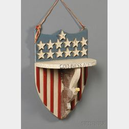 Patriotic-painted Shield-shaped Wooden Wall Shelf