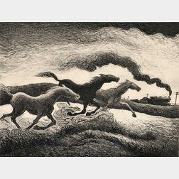 Thomas Hart Benton (American, 1889-1975)      Running Horses
