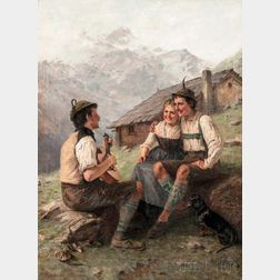 Theodor Kleehaas (German, 1854-1929)      The Serenade/An Alpine Genre Scene