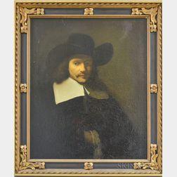 Manner of Rembrandt van Rijn (Dutch, 1606-1669)      Portrait Head of Man in White Collar and Black Hat