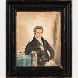 British School, Early 19th Century      Portrait of a Young Man at a Table