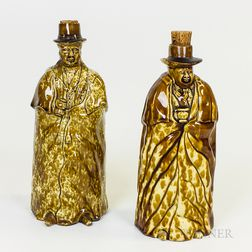 Two Bennington Rockingham-glazed Ceramic Figural Flasks