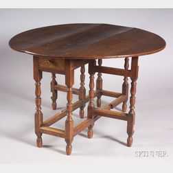 English William and Mary Style Oak Drop-leaf Gate-leg Table