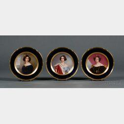 Three Hutschenreuther Painted Porcelain Portrait Cabinet Plates