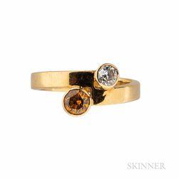 Susan Sarantos 18kt Gold, Colored Diamond, and Diamond Ring