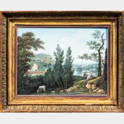 French School, 19th Century      Pair of Italianate Landscapes with Peasants and Livestock