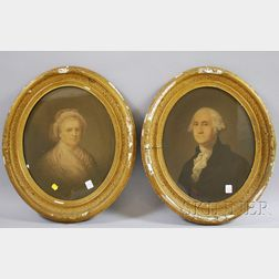 Framed Lithograph Portraits of George and Martha Washington and N. Currier Lithograph Portrait of King William III. Crossing the Boy...