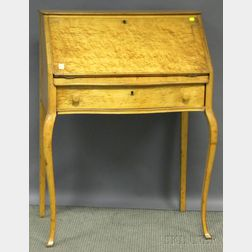 Early 20th Century Birds-eye Maple and Maple Ladys Slant-lid Writing Desk.