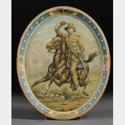 Teddy Roosevelt Rough Rider Chromolithographed Oval Tin Tray