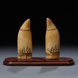 Matched Pair of Scrimshaw Whale's Teeth Decorated with Panoramic Whaling Scenes