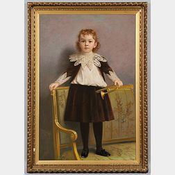 James Wells Champney (act. Massachusetts/New York, 1843-1903)      Portrait of a Child Standing on a Sofa Holding a Bugle.