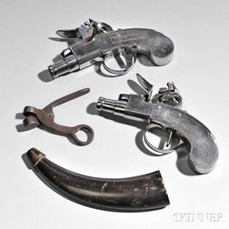 Pair of Iron-frame French Flintlock Boxlock Pistols, Bullet Mold, and Horn