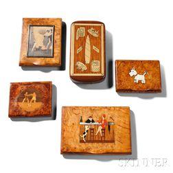 Five Art Deco Souvenir Burlwood Boxes