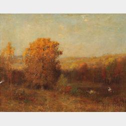 Joseph H. Greenwood (American, 1857-1927)      Sun Setting on an Autumn Landscape